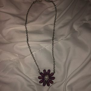 Jewelry - Purple Flower necklace with silver chain